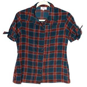 UNIQUE VINTAGE Plaid Button-Up Blouse, Size Medium